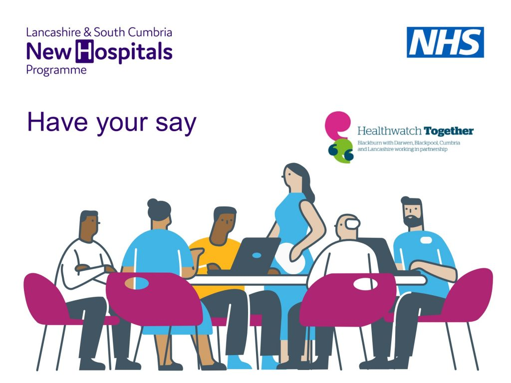 a group of people sat around a table having a discussion. Quote of Have your say and logo for Healthwatch Together