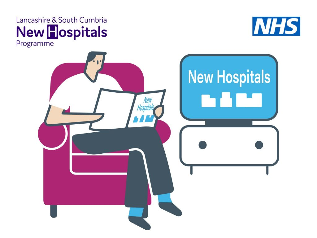 graphic of a man reading a pamphlet with TV in the background referencing New Hospitals