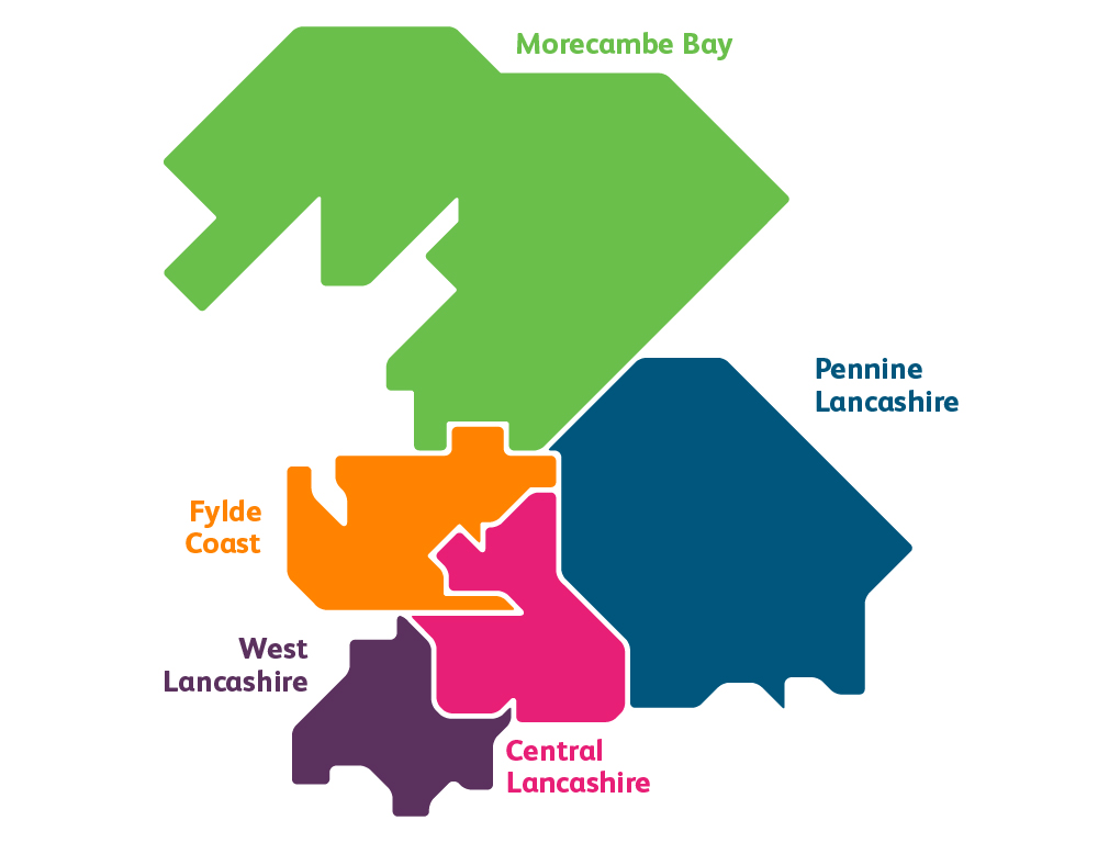 Map of the Lancashire and South Cumbria region