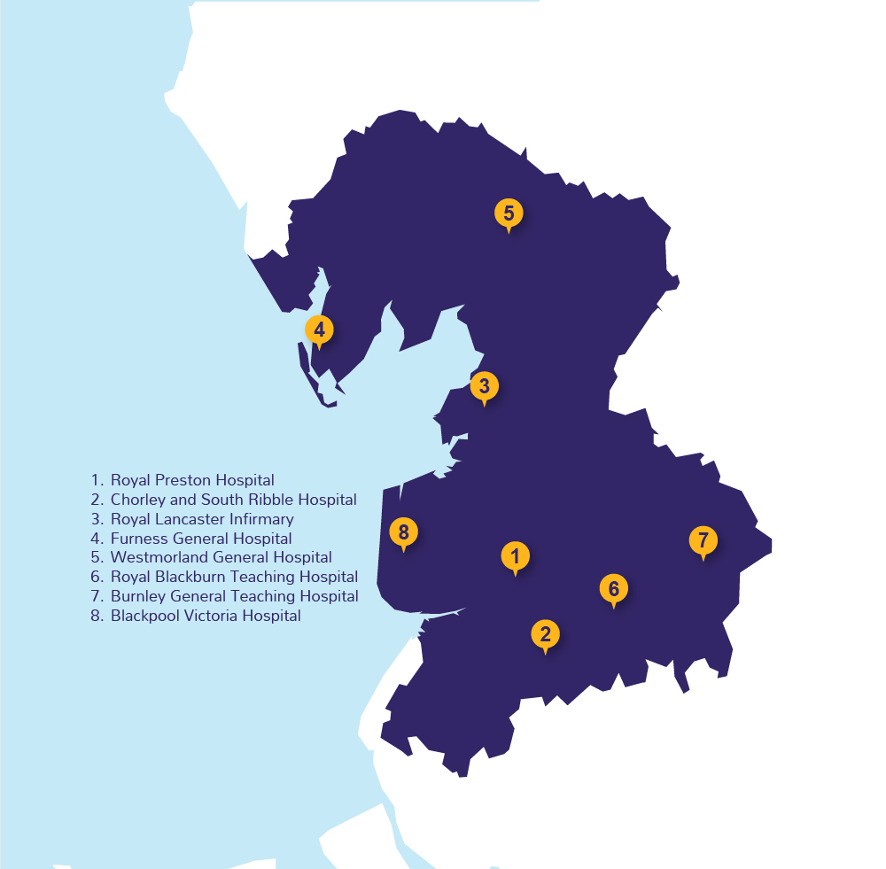 Graphic for map showing NHS hospitals across Lancashire and South Cumbria