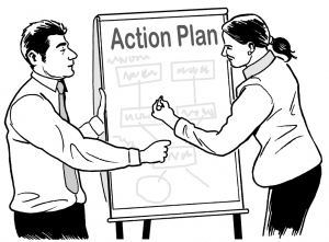 Graphic of two people creating an action plan