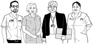 Graphic of a group of careworkers