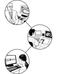 Graphic displaying the connection of digital technology