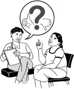 Graphic of two people discussing feedback