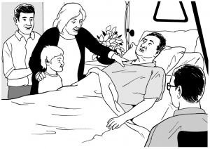 Graphic of a patient in a hospital bed surrounded by visitors