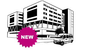 Graphic of a hospital building with a label stating new