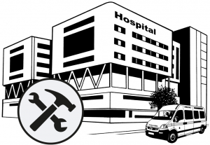 Graphic of a hospital building with a repair sign