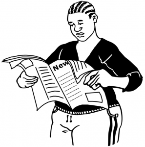 graphic of a person reading an article