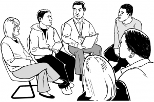 Graphic of a group of people having a meeting