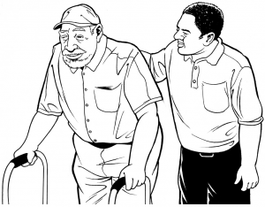 Graphic of a support worker helping a person