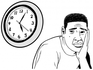 Graphic of a person with a negative expression concerned about time limits