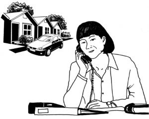 Graphic of a person working from home