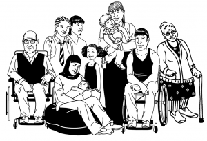 Graphic of a diverse group of people