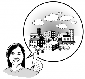 Graphic of a person picturing a positive impact to the community