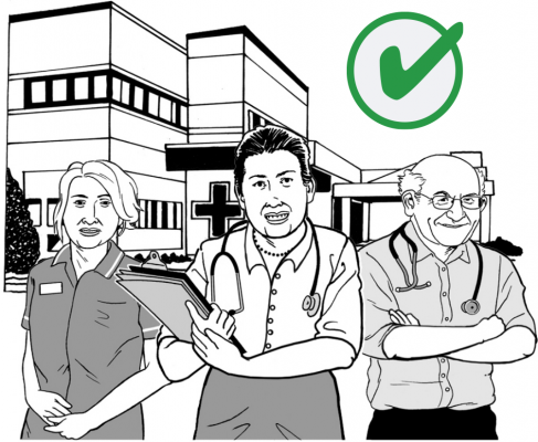 Graphic of a group of health care professionals standing outside a hospital building